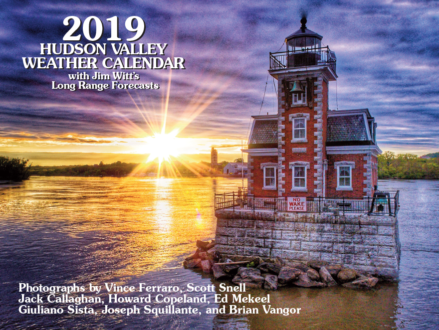 2019 Calendar Cover with an image of a lighthouse and text credits to photographers.