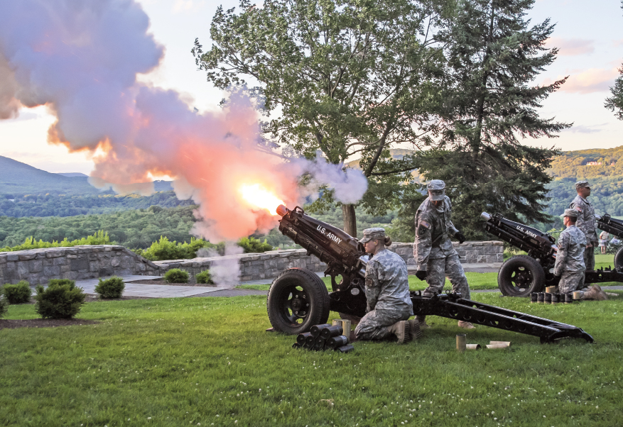 Cadets at West Point firing cannons
