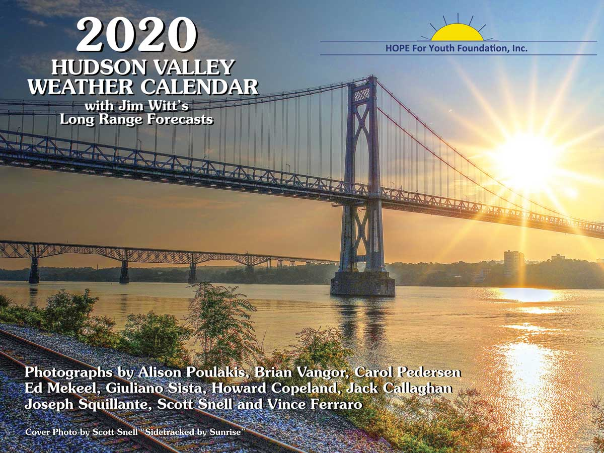 2020 Hudson Valley Weather Calendar Cover. Mid-Hudson Bridge with sun setting behind it.