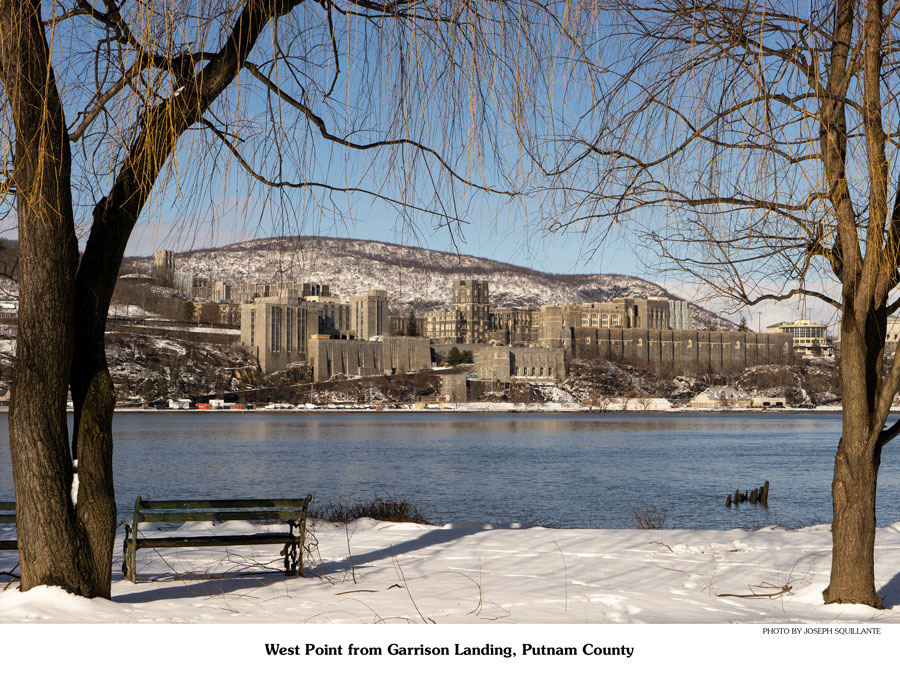 West Point from the opposite side of the Hudson River on a snow covered winter day.