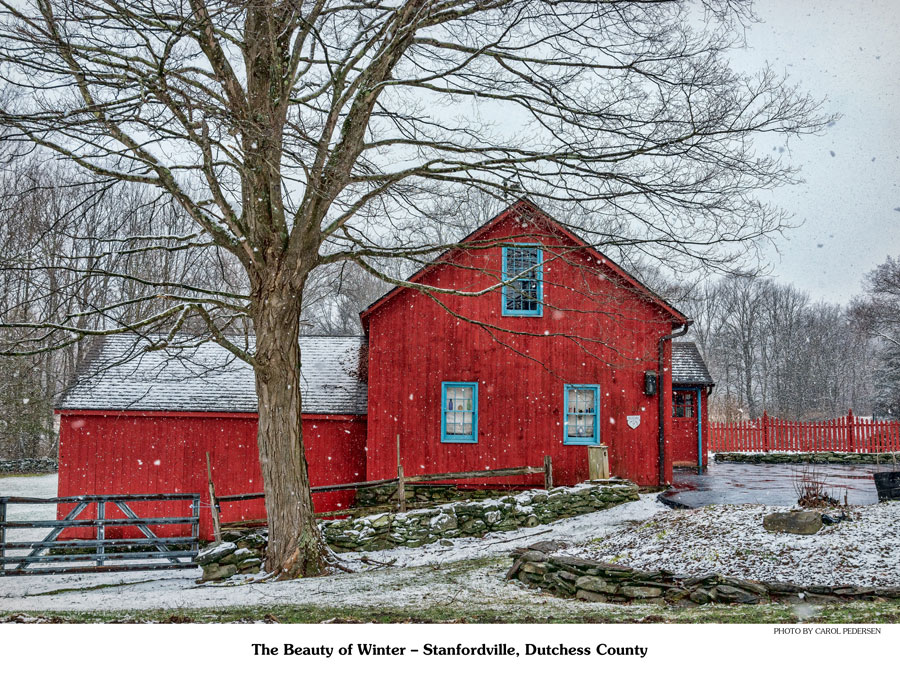 Bright red barn with leafless tree in front. Light snow is falling.